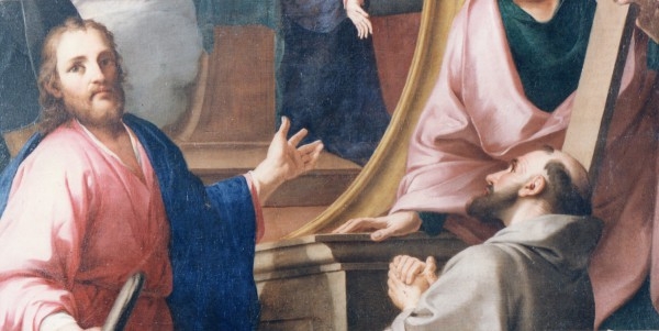 """Chiesa di San Nicolò Carpegna di Pesaro dipinto raffigurante """"Annunciazione con figure di Santi"""" del pittore Carlo Maratta. particolare"""