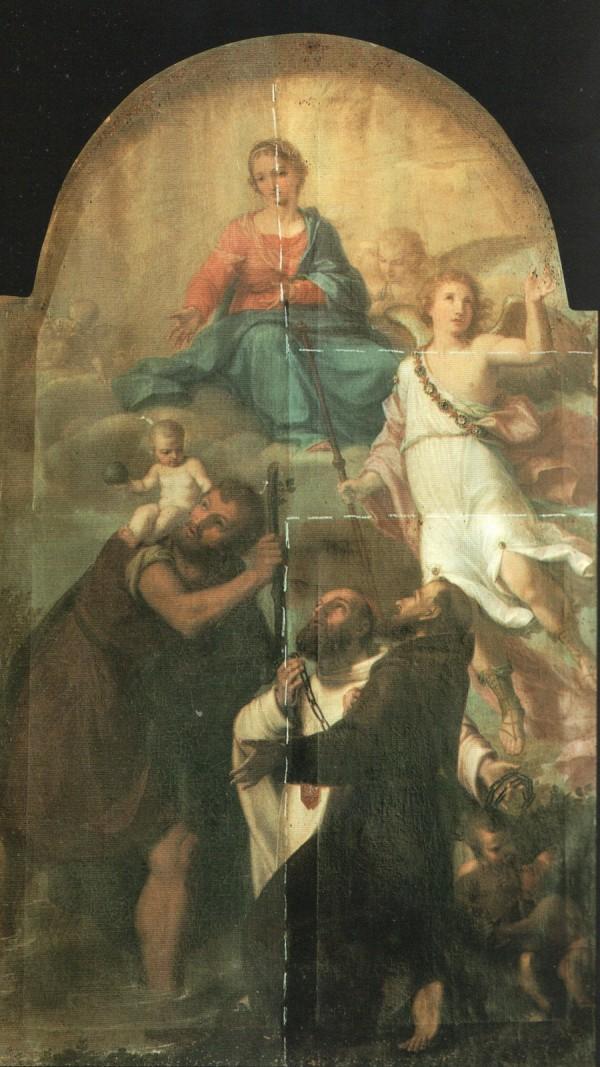 Chiesa di San Cristoforo Fano dipinto ad olio su tela raff. te Madonna con un angelo, San Cristoforo che regge il bambino e i Santi Domenico e Francesco del Pittore Pietro Tedeschi