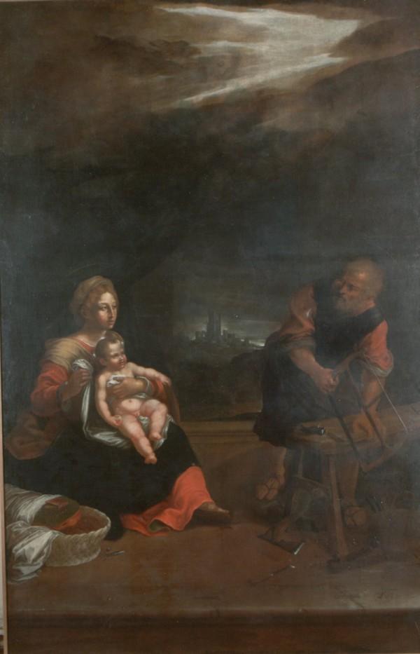 Dipinto di Villa Ceccolini, La Vergine in Gloria con San Giuseppe e San Gaetano con Gesù Bambino in braccio di cm 320 x 200 cm, datato 1726