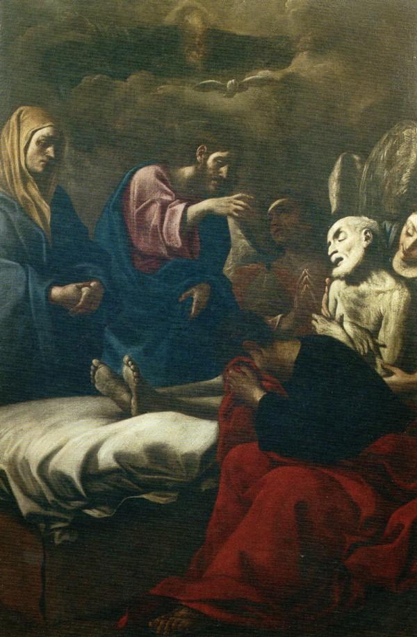 Santuario della Madonna dei Cappuccini autore Giulio Cesare Milani, (Bologna),Transito di San Giuseppe pala d'altare cm 224 x cm 154 e Sant'Andrea Cimasa cm 51 x cm 61,5